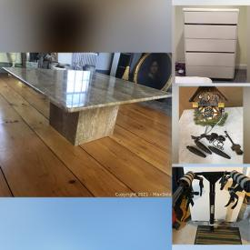 MaxSold Auction: This online auction features Antique Red Lantern, Dining Chairs, Floor Lamps, Vintage Wing-Back Arm Chair, Vintage Ladder, Vintage Hand-Painted Bed, Sibiu Wool Area Rug, Antique Drop Leaf Dining Table, Buffet Cabinet, Vintage Velvet Sofa, Brass Candlesticks and much more!