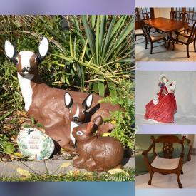 MaxSold Auction: This online auction features Royal Doulton Figurines, Gibbard Tables, Shackman Doll Korea, Porcelain Vases, Ornate Eggs, Collectible Teacups, Collector Spoons, Kundo Anniversary Clock, Art Pottery, Vintage Lead Crystal, Collector Plates, Costume Jewelry, Garden Supplies, Garden Statues and much more!