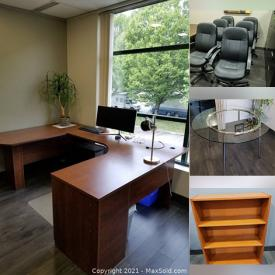 MaxSold Auction: This online auction features Office Work Stations, Office Chairs, Glass table, Conference table, Small bookcase, Office divider, and much more!!