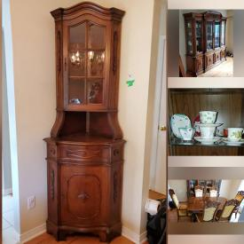 MaxSold Auction: This online auction features furniture such as dressers, armoire, bedside table, double bed, night tables, headboard, buffet hutch, bookcases, dining table and chairs, vintage chairs, coffee table, armchair, child's rocking chair, antique wood table and more, wall clock, purses, mask, statues, cordless phone, Kenmore vacuum, gardening supplies and tools, linens, lamps, collector plates, Rogers & Bro. silverplated flatware, figurines, original paintings, dishware, sewing machine, electronics, kitchenware, small kitchen appliances, vintage suitcases, cameras, prints and much more!