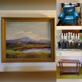 MaxSold Auction: This online auction features china teacups, cookware utensils, Turquoise armchair, oil paintings, shelves, musical instruments and much more!!