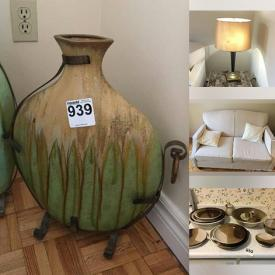 MaxSold Auction: This online auction features furniture such as accent cabinet, armchairs, loveseat, single beds, and end tables, home decor, lamps, pottery and much more!