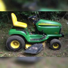 MaxSold Auction: This online auction features John Deere LT 160 Lawn Tractor, Reebok Hockey Shoulder Pads, Bonded Leather Chair, Cabinets, Collection of Ridgway China, Treadmill, Kenmore stove, Table Lamps and much more!