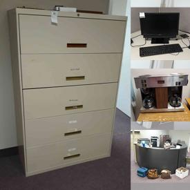 MaxSold Auction: This online auction features File Cabinets, Office Chairs, Office Desks, Monitors and Electronics, Receptionist Desk, Coffee Maker, Folding Tables and much more.