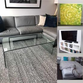 """MaxSold Auction: This online auction features furniture such as sectional sofa, wood dining table, studded upholstered chairs, coffee table, benches, and bed frames, wall art, 46"""" Samsung TV and much more!"""