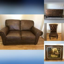 MaxSold Auction: This online auction features Sofa, Side Chairs, Side Tables, Dining Table & Chairs, Media Console, Executive Desk, Monitors, Meditation Collection and much more!