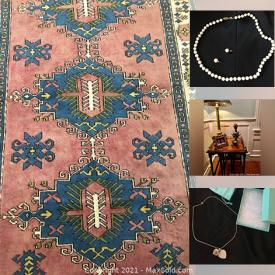MaxSold Auction: This online auction features rugs, chairs, frames, lamps, cabinets, art wall, coats, shoes, costume jewelry, books, glassware, collectible cards and much more!