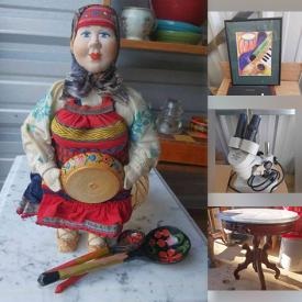 MaxSold Auction: This online auction features Victorian Style Furniture, Roseville Pottery, Teacups, Art Pottery, Crock, Antique Kerosene Lamp, Harmonica, Greek Russian doll, Microscope, Porcelain Teapot and much more!