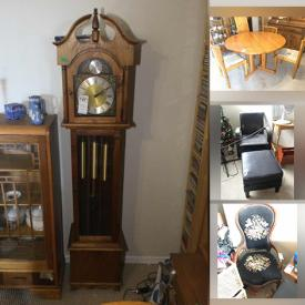 MaxSold Auction: This online auction contains a Grandfather clock, Noritake China, Blue Mountain pottery, pet supplies, vintage teacart and chair, dinette set, beds, bookshelves, China cabinets and much more!