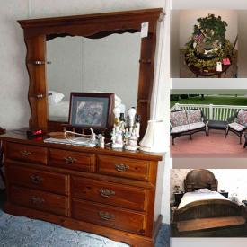 MaxSold Auction: This online auction features furniture items such as Christmas decorations, Tools for gardening, Wooden storage chest, Ceramic lamps, Ironstone Pottery washbowl, Collector Plates, Wall art, Bicycle exerciser, Handing stained glass ceiling lamp and much more!
