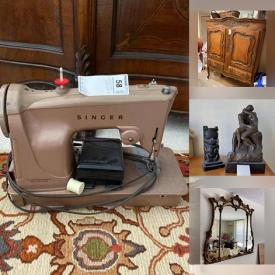 MaxSold Auction: This online auction features Furniture, Vintage kitchenware, Glassware, Kitchen Appliances, TVs, Kitchen Island, Pyrex, Baking, Mirrors, Side Tables, Rugs, Oriental Statues, Figures, Crystal, DISNEY, Wall Art, MINK, Electronics and much more.