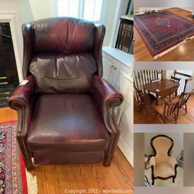 """MaxSold Auction: This online auction features Royal Doulton, Lenox, Belleek, Aynsley, silverplate, Hummel, furniture such as marble top tables, wooden chairs, oak leaf table with chairs, and Vanguard sofa, glassware, home decor, Kindles, bakeware, small kitchen appliances, luggage, Lane cedar chest, Sony turntable, area rug, 40"""" Sony TV, framed wall art and much more!"""