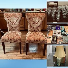 MaxSold Auction: This online auction features collectible nic nacs, serving ware, misc. items, glassware, books, handbags, marble end table, bedroom furniture, chairs, rugs, luggage's, patio furniture and much more!