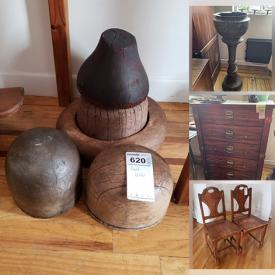 MaxSold Auction: This online auction features furniture such as wood chairs, wood cabinet, vintage Stanley Furniture chest of drawers, nightstand, rattan side table and more. Frames, fabric, wall art, assorted books, glassware, chandelier, head blocks, entry table, lamps and much more!