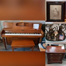 """MaxSold Auction: This online auction features silverplate, Spode china, Noritake, Royal Doulton, Pfaltzgraff, antique lithograph, 32"""" Samsung TV, furniture such as Ethan Allen table with chairs, Ethan Allen buffet, antique china cabinet, and recliners, books, vintage records, USB turntable, wall art, children's toys, photography equipment, doll collection, small kitchen appliances, home decor, office supplies, fitness equipment, fishing gear and much more!"""