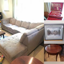 MaxSold Auction: This online auction features Arts, Cutlery, China, Buffet, Rug, Fireplace Screen and Tools, Couch, Decor, Crystal and Glass, TV and much more!
