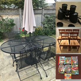 MaxSold Auction: This online auction features furniture such as a hall table, metal and glass bookshelf, wooden bookshelf, dining chairs, iron Country Club dining table, office chair and more, hitch mount cargo carrier, wall or ceiling speakers, books, Bemis humidifier, art, hockey net and shooter tutor, toys, games, vases, Bunnykins, Mikasa crystal and other dishware, sports items, skates, office items, linens and much more!