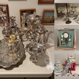 MaxSold Auction: This online auction features crystal stemware, Mikasa, Lenox, Lladro, framed wall art, silver plate, linens, home decor and much more!