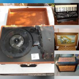 MaxSold Auction: This online auction features Accordion, Guitar, Vintage Tools, Hand Tools, Costume Jewelry, Watches, Small Kitchen Appliances, GAST Airbrush Set, Vintage Board Games, Tin Lunch Boxes, Video Games and much more!