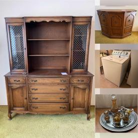 MaxSold Auction: This online auction features Grandfather Clock, China Cabinet, Bookcase, Coffee Table, Area Rug, Runner, China Plates, Framed Wall Art, Crystal, Dining Table, Chairs and much more!