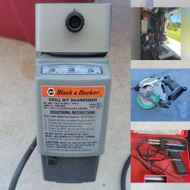 MaxSold Auction: This online auction features different types of tools like Cordless Screwdriver, Steel Hammer Kit, Rotozips, drills, battery chargers, laser levels, sanders and much more!