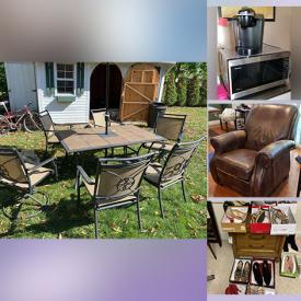 """MaxSold Auction: This online auction includes 32"""" Samsung TV, Spode, sports memorabilia, sterling silver, furniture such as dining chairs, dining table, bar height chairs, La-Z-Boy recliner, side tables, console cabinet, and Whirlpool refrigerator, area rugs, lamps, home decor, luggage, wine fridge, barware, Toro snow blower, car care, NIB screen door, power tools, patio sets, men's bicycle, chandelier, small kitchen appliances, framed wall art, fitness gear, Beats headphones, XBox with games, women's footwear, costume jewelry, watches, and much more!"""