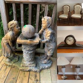 MaxSold Auction: This online auction features furniture such as wooden chairs, a cheval mirror, older rattan chair, glass lanterned with brass accents, vases, Blue Mountain Pottery, a Glass topped double coffee table with metal and composite base and much more!