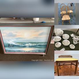 MaxSold Auction: This online auction features a Noritake china, Royal Heidelberg china, stemware, French Saxon china, linens, frames, glassware, HO and Lionel trains, baskets and vases, wall art, Christmas decor, furniture such as side tables, coffee table, vanity stool and much more!