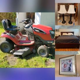 """MaxSold Auction: This online auction features sports memorabilia, Craftsman riding mower, 42"""" LG TV, furniture such as heated office chair, desks, dressers, and king size bed, shelving units, books, signed wall art, office supplies, skis, barware, HotPoint refrigerator, mini fridge, interior doors, small kitchen appliances, lamps and much more!"""