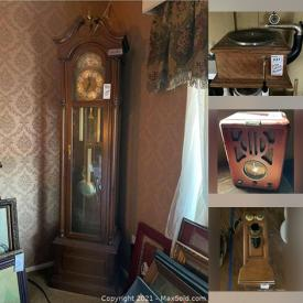 MaxSold Auction: This online auction features fine china, silver plate, vintage grandfather clock, collectible dolls, furniture such as vintage dresser, hall table, rocking chair, love seats, dining table and chairs, cabinets, home decor, lamps, electric fireplace, wall art, area rugs, vintage clocks, vintage children's books, crocks, ceramics, linens and much more!