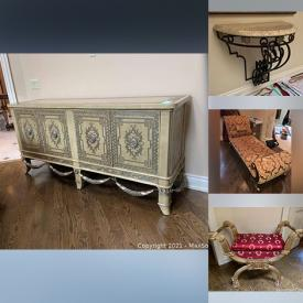 MaxSold Auction: This online auction features ornate furniture, glassware, serving ware, wall art, cameras, decor, a Samsung TV and much more!