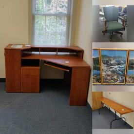MaxSold Auction: This online auction features wall art, furniture such as couch with pillows, Parsons tables, filing cabinets, corner computer desk, and office chairs, whiteboards, 3M projector and much more!