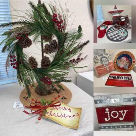 MaxSold Auction: This Commercial Liquidation Online Auction features New Christmas Decor such as Wall Plaques, Snowmen, Pillows, Stars & Berries Cone Trees, Baskets, Twig Lights, Table Linens, Wreaths, Bird Houses, Ornaments, Wire Christmas Trees, and New Inspirational Saying Wall Plaques, Table Lamps, Decorative Plates, Teacher Wall Plaques and much more!