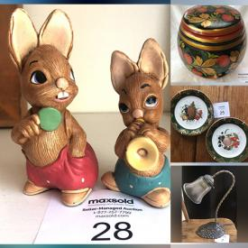 MaxSold Auction: This auction features halloween lot, lamps, harry potter items, books, artwork, beverage containers, kitchenwares, shoes, clothes, thermometer,clocks and many more!