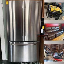 """MaxSold Auction: This online auction features furniture such as recliner sofa, side tables, dining tables and chairs, cabinets, dressers, wood hutch, and sleigh bed, books, lawnmowers, kitchenware, small kitchen appliances, vacuums, luggage, glassware, barware, 19"""" Sylvania TV, Samsung refrigerator, generators, Christmas decor, lamps, gym equipment, golf clubs and much more!"""