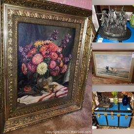 MaxSold Auction: This online auction features furniture items such as Vintage ethnic dolls, wine and cordial glasses, a glass bear cravings, coffee service with trays, Wedgewood mugs, Brass wall hooks, bowls, cooper cookware, Christmas decorations, household items and much more!
