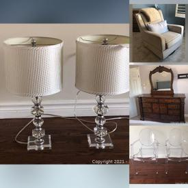 """MaxSold Auction: This online auction features crystal ware, fine bone china, furniture such as ghost chairs, couch, nightstands, dressers, and swivel rockers, ceramics, lamps, small kitchen appliances, cookware, patio umbrella, 42"""" Samsung TV and much more!"""