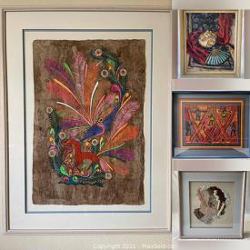 MaxSold Auction: This online auction features Brad Davis Screen Print, Gary Schein Vase, Lois Berghoff Screen Print, Jack Berghoff. Textiles and much more!