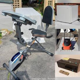 MaxSold Auction: This online auction features furniture such as an office desk, chair, Workfit exercise bike with chair, living room table, wooden bar stools, console table, white Ikea dresser and more, accessories, books, Crockpot, Shark vacuum cleaner, clothing, shoes, Sunbeam electric vaporizer, Remington hair roller set, remote controls, vintage 1930s toy car, electric pencil sharpener, Tiffen carrying case, Samsung speakers, handpainted ornamental vases and plates, decorative bowls, framed prints, small kitchen appliances, Black and Decker electric lawnmower and much more!