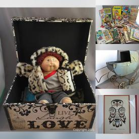 MaxSold Auction: This online auction features an antique metal doll carriage, wall art, small kitchen appliances, Christmas decor, ceramic water jug, vintage baseball glove, DVDs, wooden crate, leather drum panel, vintage football, decorative and household items, framed embroidery, ceramic mugs, kitchenware, sawhorses, Honda lawnmower, pressure washer, floor fan, furniture such as a wooden storage cabinet, armchairs, glass top table and much more!