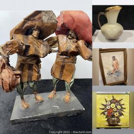 MaxSold Auction: This online auction features F.de Villeneuve lithograph, signed original drawings, oil on board, art deco and more, carved glass, vintage moldings, hurricane candle holders, mirror, kakeshi doll, paper art, vases and much more!