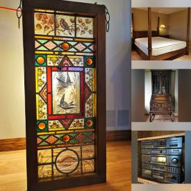 MaxSold Auction: This online auction features Antique Furniture such as Fold-out Desks, Side Table, Bookcases, sideboard, Wall Clocks and Telescope, Bar Fridge, Sideboard with Built-in Fireplace, Stereo System, Leaded Stained Glass, and much more!!