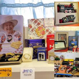 """MaxSold Auction: This online auction features British royal memorabilia, watches, 14k gold and sterling silver jewelry, model trains, Kenmore freezer, framed original art, crafting materials, costume jewelry, holiday decor, gardening supplies, small kitchen appliances, furniture such as power lift recliner, side tables, vintage dresser, and china cabinet, lamps, books, 33"""" Samsung TV, stained glass, CDs, DVDs, garden decor and much more!"""