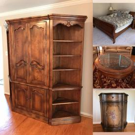 MaxSold Auction: This online auction includes foyer table, Ethan Allen entertainment center, Ethan Allen end tables, Bernhardt leather sofa, oak dresser, and more!