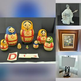 MaxSold Auction: This online auction features wall art, Gmundner Keramik figurine, Barbra Streisand CDs, Wedgwood, lamps, mirror, vases, candleholders, ceramic bowl and another decor, Lena Lui plates, chafing dish, serving dish, oriental figures, games, pool cue, furniture such as night tables, accent table, hutch Pecan sofa and chair, bookcase and much more!
