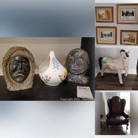 MaxSold Auction: This online auction features furniture such as an oak bench, patio set, tables, cabinets, table, dining table and chair set, china cabinet, teak credenza, microwave stand, wood stools, bedside tables, Bassett wood armoire, bedframes, desk, demilune table, cabinet, dinette set and more, shop vac, garden tools and supplies, ladders, Christmas decor, hand tools, electric fireplace, prints, china, dishware, kitchenware, Avon bottles, collector plates, magazines, Robert Bateman print, Royal Doulton figurines, books and much more!