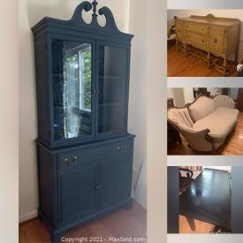 MaxSold Auction: This online auction features furniture such as a vintage buffet, French chair and sofa, blue china cabinet, side tables, chairs, Pottery Barn desk, mahogany chair, office chair, Pottery Barn shelving unit and more, elliptical exercise machine, mirrors, lamps, dog fence, clock, curtain panels, iron urns, milk glass, plates, linens, cookbooks, baskets and much more!