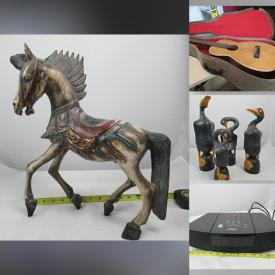 MaxSold Auction: This online auction features Wooden Carved Animals, Duck Decoy, Vintage Flatware, Vintage Inlaid Bowl, Vintage Bangka Tin Angel Candle Holders, Onyx Flower Vases, Vintage Bracelets, Onyx Lamps with Leaded Glass Shades, Vintage Thai Temple Rubbings, Vintage Bottles, Vintage Tiki Mugs, Vaseline Glass, Depression Glass, Vintage Tins, Electronic Toys, Vintage Guitar, Blue-and-White Porcelain, Craft Supplies, Sewing Supplies, and Much, Much, More!!