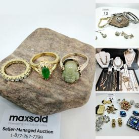 MaxSold Auction: This auction features vintage leather gloves, fashion jewelry, brooches, sterling silver, Gold plated jewelry, jewelry travel cases and much more!