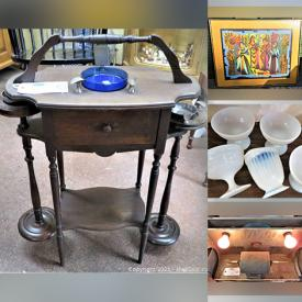 MaxSold Auction: This online auction features Vintage Electric Dayton Dual Polisher & Weller Sander, Tool Chest, Hand Tools, Japan-China Creative Manor & Fine Staffordshire England China Dish Set, MCM & Vintage Mahogany Wood Tea Cart, Vanity, Tobacco Humidor, TV Tray Stand, Handcrafted ASH Tables, Tribal Folk ART Carved Wood Figure, Signed Framed ART, Sewing Machines, Display Rack, Antique Handmade Rocking Baby Cradles, Collectibles, 22k Plates & Silver Rim Glassware, Quilting Books and much more.
